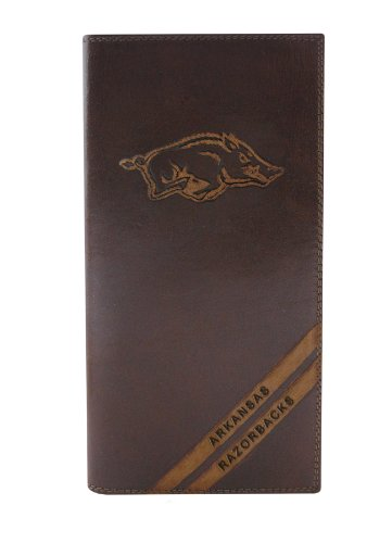 NCAA Arkansas Razorbacks Zep-Pro Pull-Up Leather Long Secretary Embossed Wallet, Brown ()