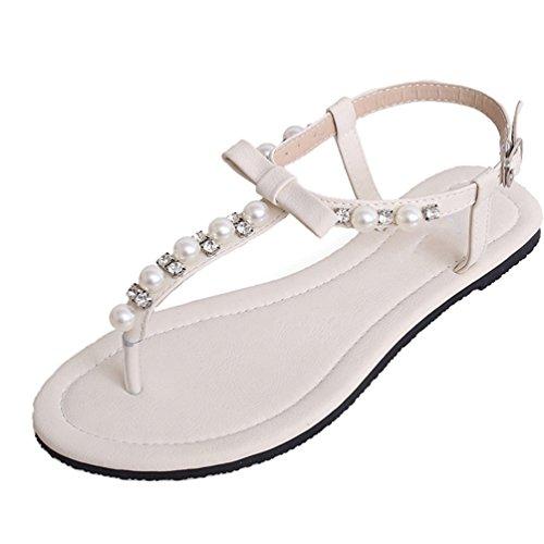 NiSeng Women Flat Sandals Rhinestones Pastoral Sandals Bohemia T-Strap Clip Toe Sandals White ZWlqh55LKZ
