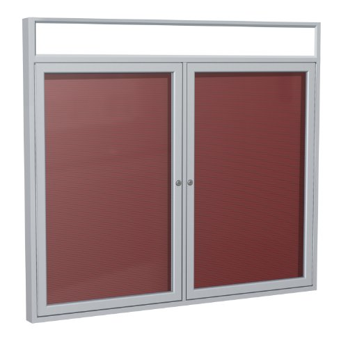36''x60'' 2-Door Satin Alum Frame w/ Headliner Enclosed Flannel Letter Board, Burgundy by Ghent