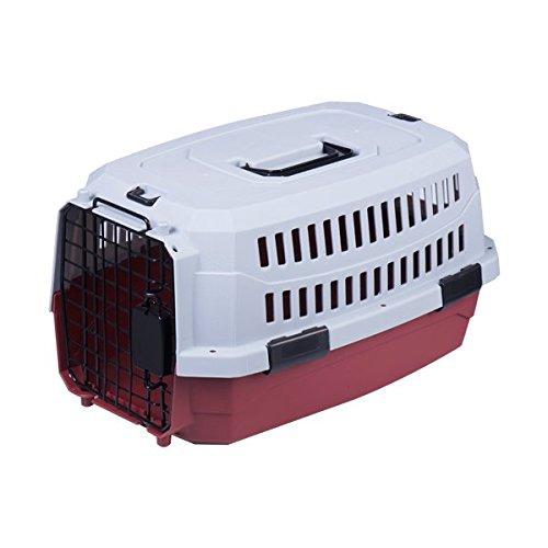 Transportín rígido para perros o gatos Nobleza, color rojo y gris, largo 58cm
