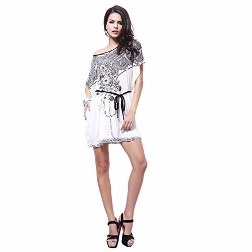 Winson Women short batwing sleeve round Neck Ice Cotton Loose short party Dress 41PKu4wY 2BDL