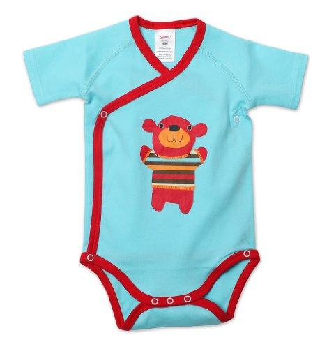 Zutano Baby-Boys Newborn Little Bear Screen Short Sleeve Wrap, Aqua, Newborn