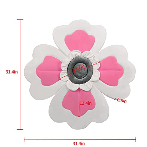 Flower Babybath Pad, Soft Seat Support for Infant Bathing, Baby Bath Sink Bather Pillow, Newborns Quick-Drying Baby Bath Mat - 4 Petals(Rose-White)