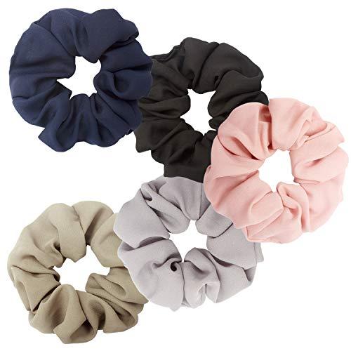 Ahoney 5 Pack Large Chiffon Flower Hair Scrunchies Elastics Hair Scrunchie Scrunchy Hair Ties Ponytail Holder for Women