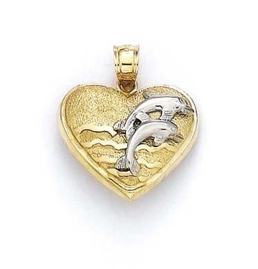 14 carats-Bicolore-Pendentif Coeur-JewelryWeb saut de dauphins