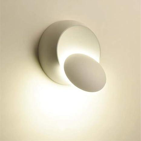 Lampada da Parete LED Applique da Parete Interno Moderno, Girevole a 360  Gradi Luce Rotonda per Camere da Letto, Soggiorni (3000K, bianca)