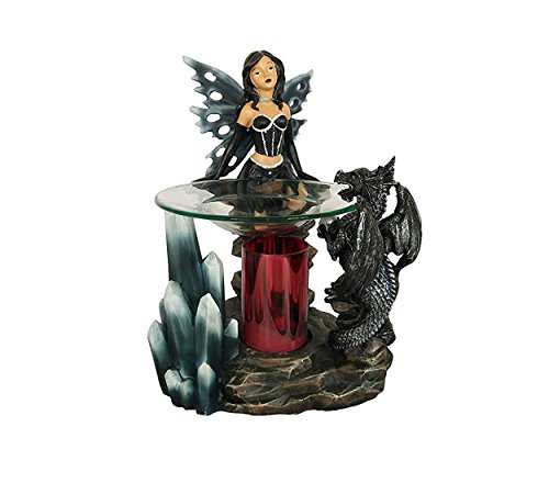 Fairy Candle - Black Dragon Poly Resin Electric Oil Warmer (Fairy with Dragon)