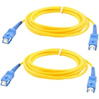 2 Pcs Simplex Single Mode SC to SC Male Fiber Optic Patch Jump Cable Yellow 2M