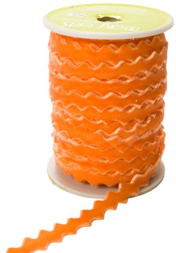(May Arts 3/8-Inch Wide Ribbon, Orange Velvet Ric Rac)
