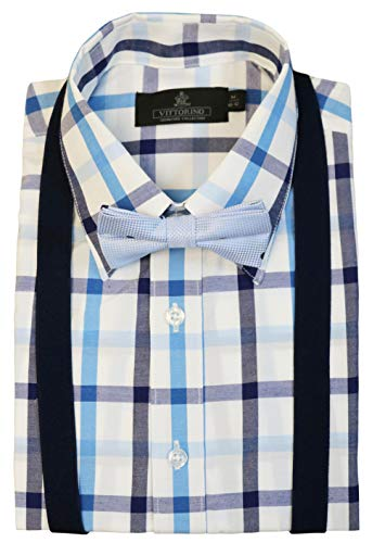 (Vittorino Boys' Dress Shirt with Matching Bowtie and Suspenders Set, Blue Plaid, 2T)