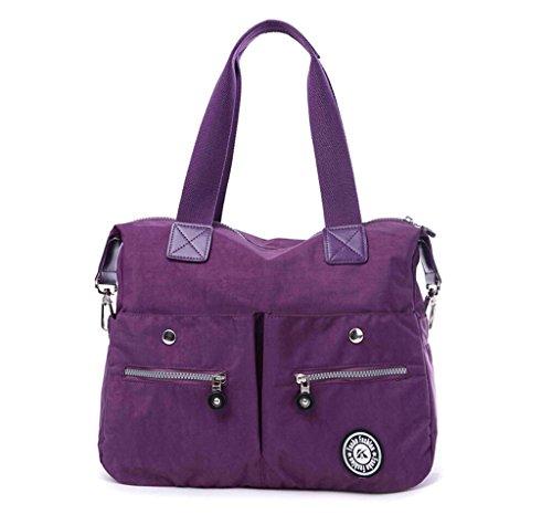 Kecartu Women's Water-resistant Nylon Shoulder Bag Lightweight Crossbody Handbag School Travel Work Totes-Purple by Kecartu