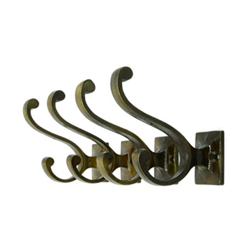 Vintage Cast Iron Wall Hooks (Antique Brass Finish, Set of 4) - Rustic, Farmhouse Coat Hooks | Great for Coats, Bags, Towels, Hats | Vintage Scroll (Vintage Craftsman)