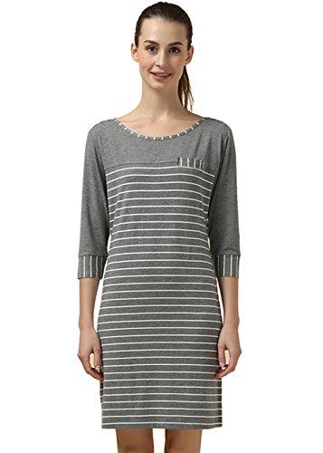 Woven T-shirt (Woman Cotton Woven Round Neck T Shirts Large Casual Nightdress Pajamas)