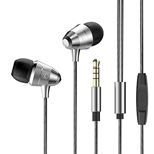 Earbuds In-Ear Metal Headphones with Mic Super Bass Noise Isolating Wired Earphones for IPhone IPad IPod Android Smartphone Tablet Laptop Computer Mp3/4 (Gray)