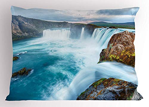 (K0k2t0 Waterfall Pillow Sham, Icelandic Nature Dramatic Landscapes Picture with Sunset View, Decorative Standard Queen Size Printed Pillowcase, 30 X 20 inches, Light Blue White Light Brown)