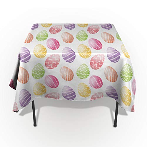 - Happy Easter Tablecloths for Rectangle 60 x 84-inch Table Cover, Cotton Linen Fabric Table Cloth for Dining Room Kitchen, Doodle Ribbon Dot Pattern Ornamental Egg Shape Design,