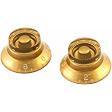 GUITAR TOP HAT BELL KNOBS (LEFT HAND) FOR GIBSON AND OTHERS GOLD SET OF 2