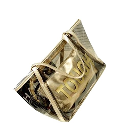 Top Shop Womens Casual Tough Tote Transparent Beach Handbag Shoulder Bags Gold Satchels Two-pieces