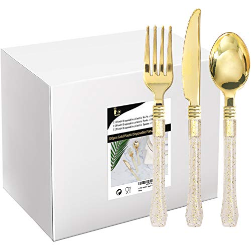 300 PCS Gold Disposable Silverware, Plastic Cutlery with Gold Glitter Handle, Unique Design Flatware Set Includes: 100 forks, 100 knives, 100 spoons