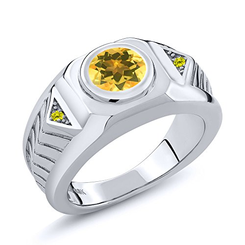 1.53 Ct Round Yellow Citrine Canary Diamond 925 Sterling Silver Men's Ring - Canary Bezel