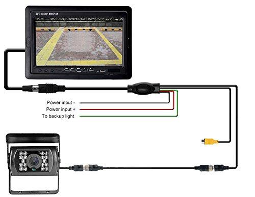 Cam/éra de recul 4 broches 12/V-24/V 18 LED Vision IR /étanche Vision de nuit Avec c/âble de 15/m /écran 7 couleur TFT LCD HD Pour voiture bus RV Camion Remorque