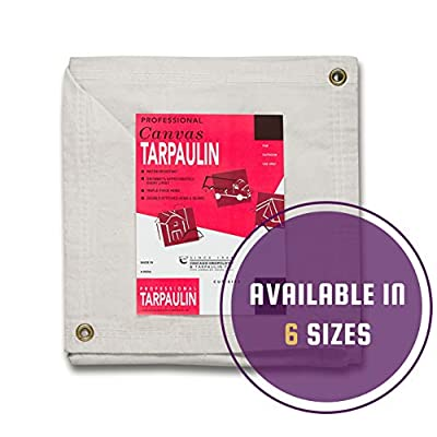 CCS CHICAGO CANVAS & SUPPLY Canvas Tarpaulin, White, 8 by 12 Feet
