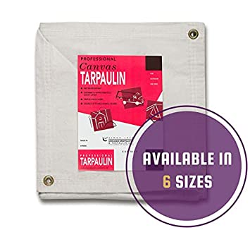 10 by 12 Feet White CCS CHICAGO CANVAS /& SUPPLY Canvas Tarpaulin