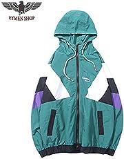 EYMEN SHOP Track Jacket Windbreaker Men Hip Hop Streetwear Hooded Jacket Color Block Autumn 2018 Casual Hoodie Jacket Coat Hipster (GREEN, L)