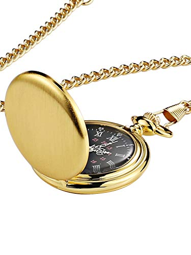 Steampunk Vintage Pocket Watch,Stainless Steel Quartz Pocket Watch 14'' Chain for Xmas Fathers Day Gift (Brushed Gold)