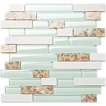 Tst Aqua Marine Glass White Stone Tile Seashell Mother Of