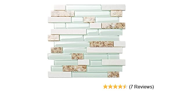 TST Aqua Marine Glass White Stone Tile Seashell Mother of Pearl Inlay Beach Style House Accent Wall Backsplash Art Decor Mosaic Tile TSTMGT085 11 Square Feet