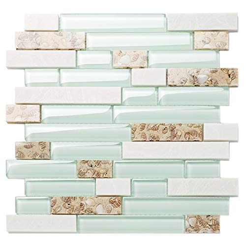 TST Aqua Marine Glass White Stone Tile Seashell Mother of Pearl Inlay Beach Style House Accent Wall Backsplash Art Decor Mosaic Tile TSTMGT085 (1 Sample 4x12 Inches) (Aqua Wall Accent)
