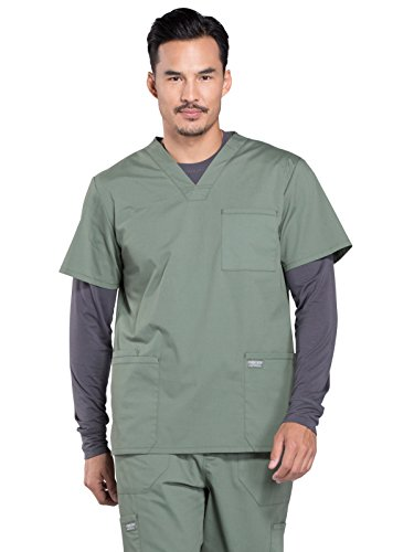 Cherokee Professionals Workwear Men's V-Neck Utility Solid Scrub Top Xx-Large Olive by Cherokee