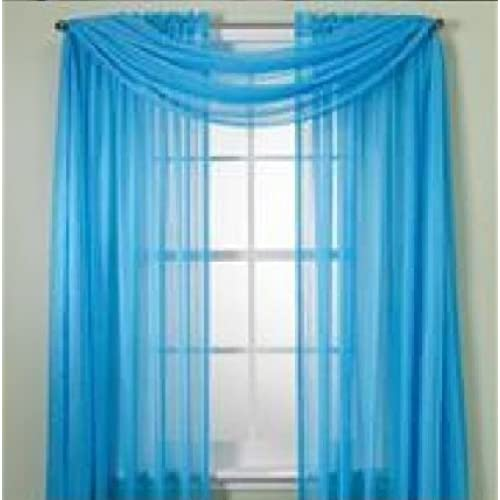 WPM 60 X 63 Inches Sheer Window Elegance Curtains/drape/panels/treatment,  Turquoise