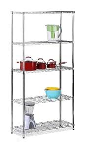 Honey-Can-Do SHF-01443 Adjustable Industrial Storage Shelving Unit, 200-Pounds Per Shelf, Chrome, 5-Tier, 36Lx14Wx72H