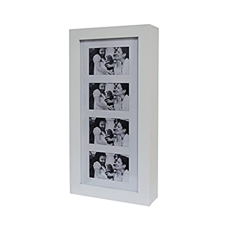 GLS White Photo Frames Wall Mount Jewelry Armoire Cosmetic Organizer Picture Display Box