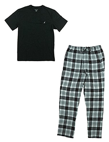 Nautica Men's 2 Pc Pajama Set Cotton Blend Crew Neck Top Flannel (Nautica Mens Robe)