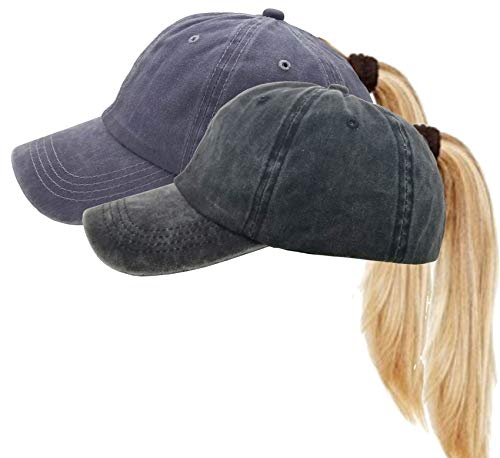 (Messy High Bun Women Ponytail-Baseball-Hat Twill Vintage Trucker Ponycap (Adjustable, Black+Grey) )