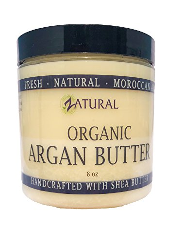 Organic Argan Body Butter-Moroccan Argan Oil-Raw Shea Butter-Skin-Body-Hair (8oz) (Raw Body Oil)