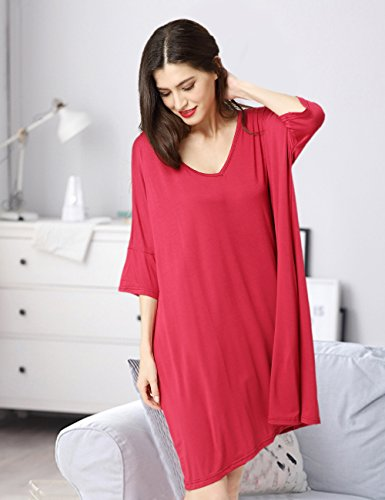 Aibrou Batas de Casa Mujer, Albornoz de Manga Media, Material Modal Fibra Natural, Ropa Vestido Suelta Para Dormir, Casa, Ducha. Rojo