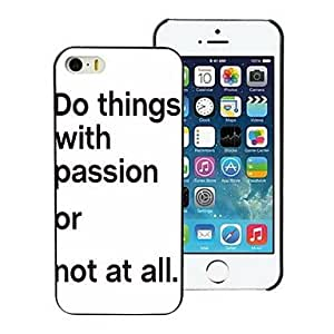 QYF Do with Passion Design PC Hard Case for iPhone I4 , White and Yellow