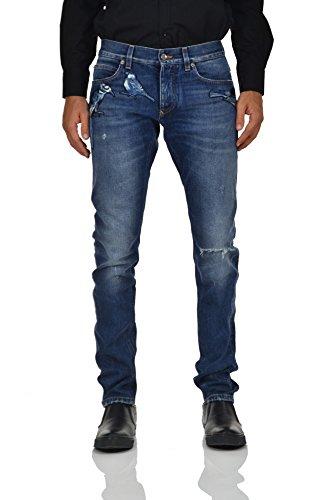 Dolce&Gabbana Gold Jeans Birds Blue Men - Size: 46 - Color: Blue - New