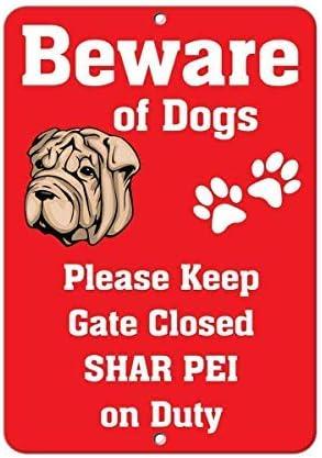 lustig Warnschilder Heimdekoration Aluminium WSMBDXHJ Shar Pei Dog Beware of Fun Schild 8x12 cm Blechschild Vorsichtsschild