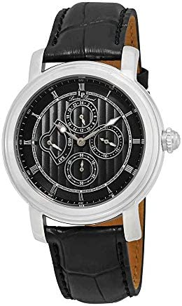 Lucien Piccard Men s LP-40009-01 Valarta Stainless Steel Watch with Black Leather Band