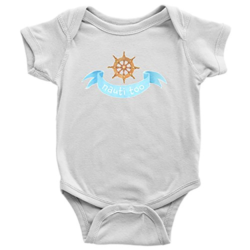 White Sailor Dog Shirt (Nautical Baby Clothes Bodysuits for Boys Girls Newborn to 24 Months - Nauti Too (White, 18 Months))