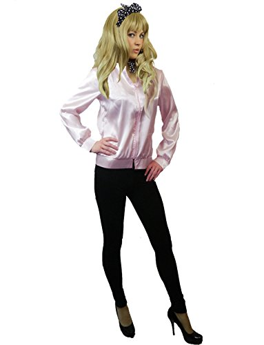 70s Rock And Roll Costumes (Yummy Bee Womens Jacket Ladies Pink Costume 50s 60s 70s Size 10 - 12)