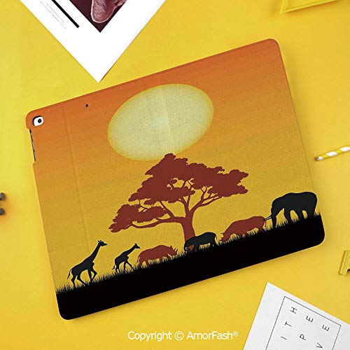 Case for Samsung Galaxy Tab S4 10.5 T830 T835 T837 Kids Safe Shockproof,Safari Decor,Silhouette of Rhinos Elephants Zebras Grassland and A Tree with Sun The Back,Orange Chocolate Black