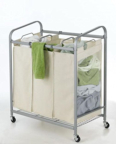 Produit Royal Beige 3-Bag Laundry Sorter Cart Heavy Duty Hamper Bag Basket Clothes Storage Organizer Rolling Bin Washing with Lockable Wheels