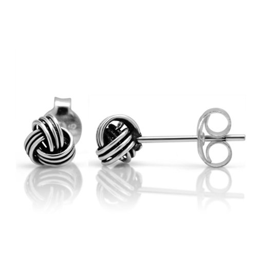 925 Oxidized Sterling Silver Tiny Love Knot 5 mm Post Stud (Single Knot Ring)