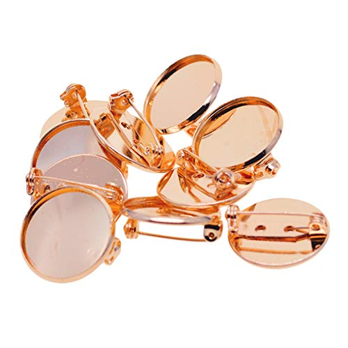 SM SunniMix 10Pcs 20mm Copper Round Brooch Safety Pin Backs Bases Blank Cabochon Settings Bezel Pads Trays Crafts DIY Women Jewelry Clothes Accessories, Rose Gold